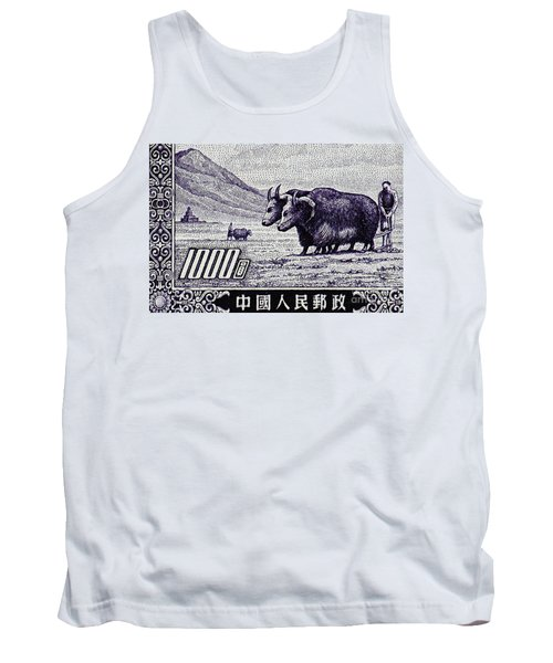 Under The Plough Vintage Postage Stamp Detail Tank Top by Andy Prendy