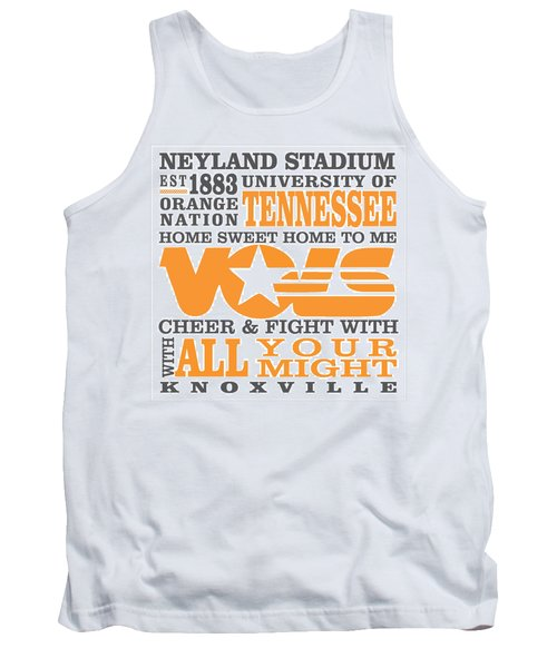 University Of Tennessee Graphic Canvas Tank Top by Debbie Karnes