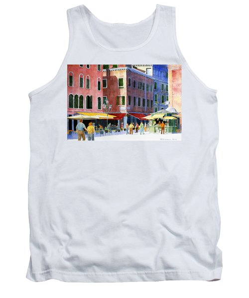 Tank Top featuring the painting Venetian Piazza by Roger Rockefeller