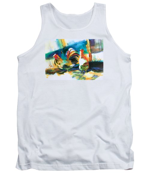 Tank Top featuring the painting Veridian Chicken by Kathy Braud