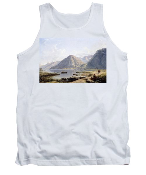 View Of Lake Geneva With The Town Of Villeneuve Tank Top