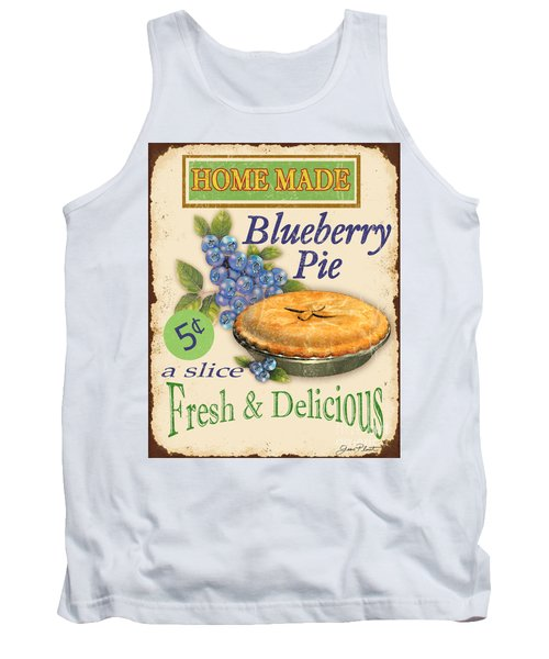 Vintage Blueberry Pie Sign Tank Top by Jean Plout