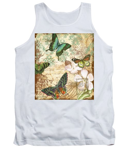 Vintage Butterfly Kisses  Tank Top by Jean Plout