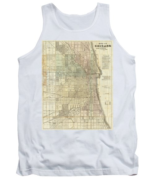 Vintage Map Of Chicago - 1857 Tank Top