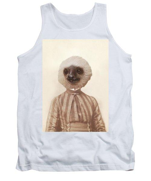 Vintage Sloth Girl Portrait Tank Top by Brooke T Ryan