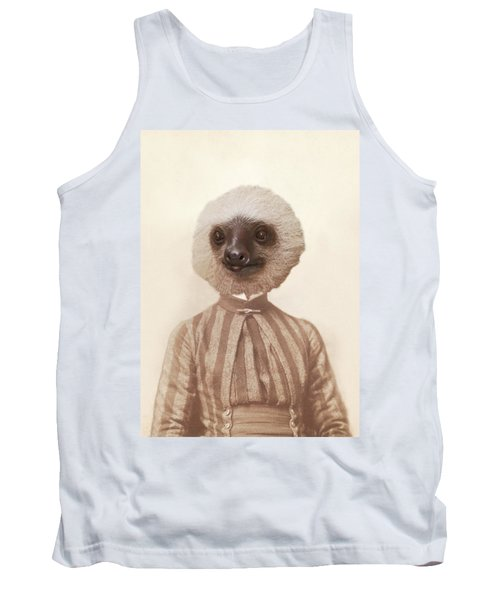 Vintage Sloth Girl Portrait Tank Top