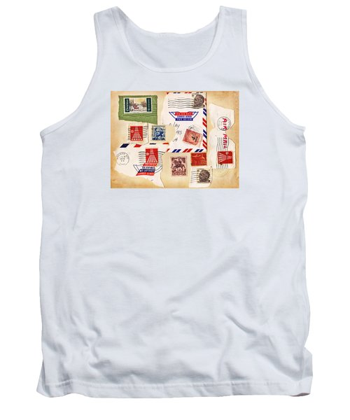 Tank Top featuring the photograph Vintage Stamps On Old Postcard by Vizual Studio