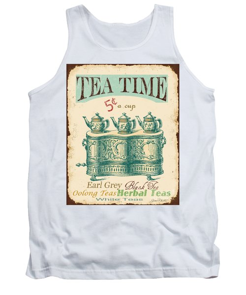 Vintage Tea Time Sign Tank Top by Jean Plout