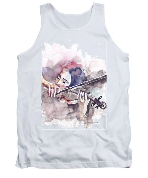 Tank Top featuring the painting Violin Prelude by Faruk Koksal