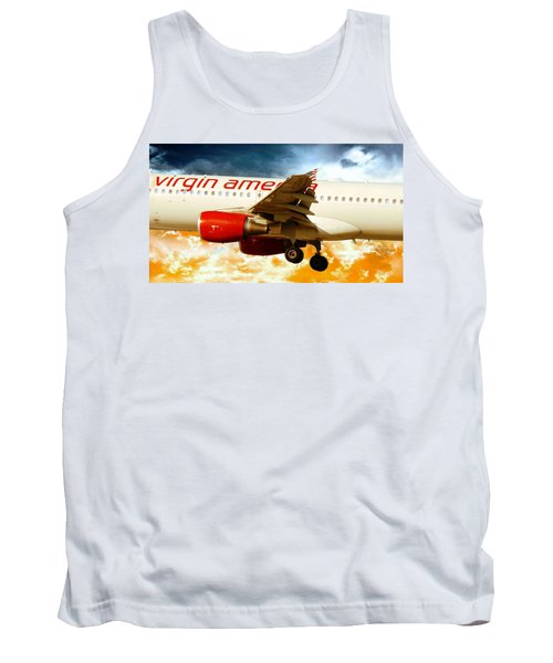 Flight Tank Top featuring the photograph Virgin America A320 by Aaron Berg