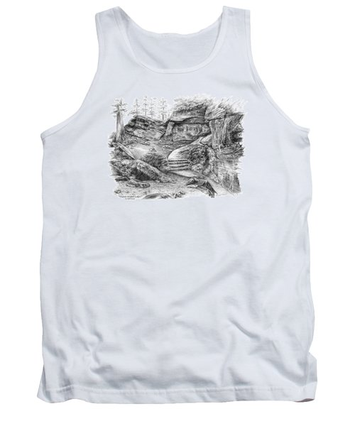 Tank Top featuring the drawing Virginia Kendall Ledges - Cuyahoga Valley National Park by Kelli Swan