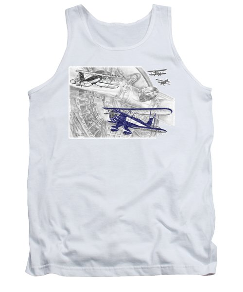 Waco Ymf - Vintage Biplane Aviation Art With Color Tank Top