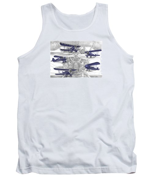 Wacos - Vintage Biplane Aviation Art With Color Tank Top