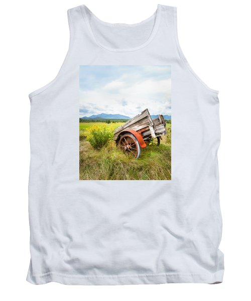 Tank Top featuring the photograph Wagon And Wildflowers - Vertical Composition by Gary Heller