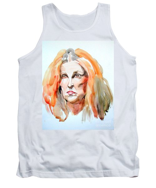 Tank Top featuring the painting Watercolor Portrait Of A Mad Redhead by Greta Corens
