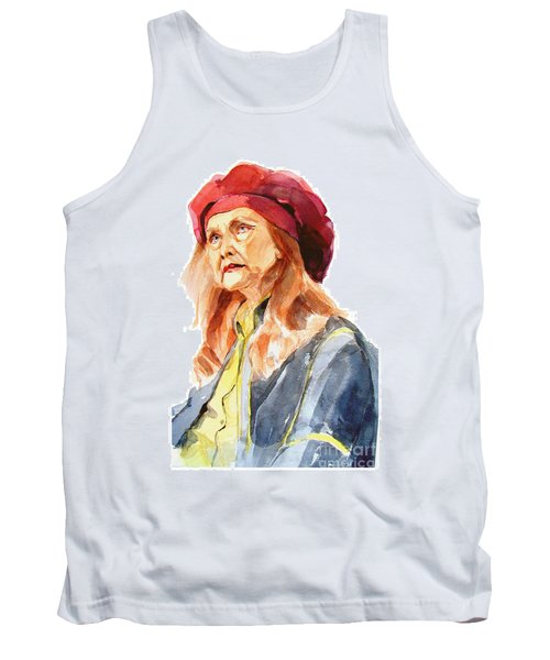 Tank Top featuring the painting Watercolor Portrait Of An Old Lady by Greta Corens