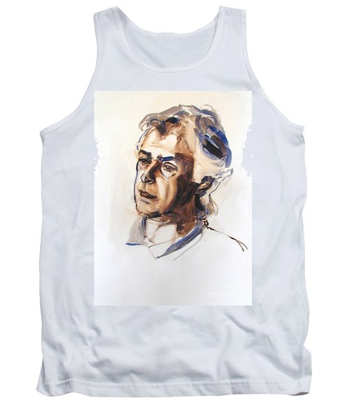 Tank Top featuring the painting Watercolor Portrait Sketch Of A Man In Monochrome by Greta Corens