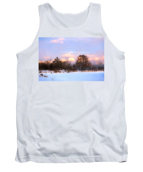 Watercolor Winter - Cold And Colorful Day On The Lake Tank Top