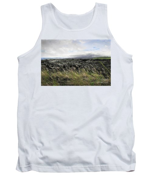 Tank Top featuring the photograph Waves Of Clouds Sea Lava And Grass by Ellen Cotton