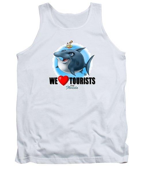 Tank Top featuring the digital art We Love Tourists Shark by Scott Ross