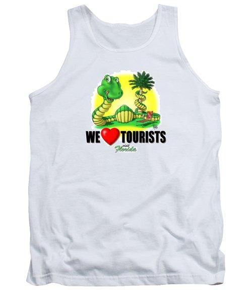 Tank Top featuring the digital art We Love Tourists Snake by Scott Ross