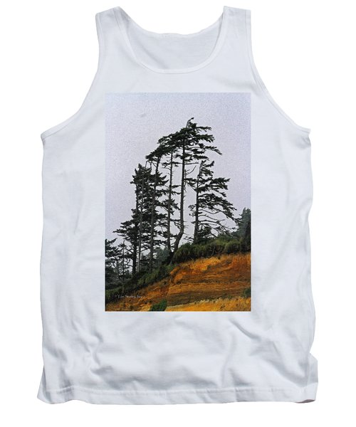 Weathered Fir Tree Above The Ocean Tank Top by Tom Janca