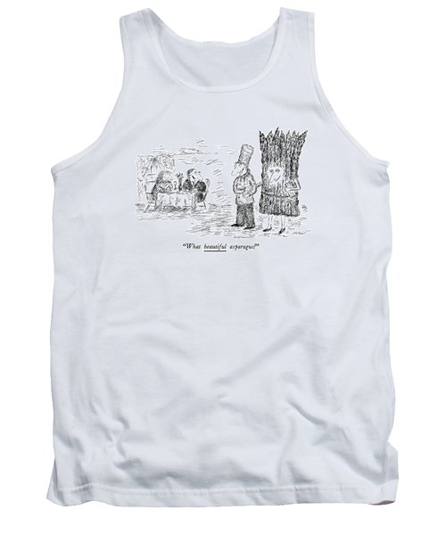 What Beautiful Asparagus! Tank Top by Edward Koren