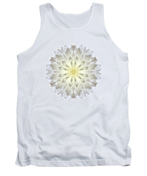 Giant White Dahlia I Flower Mandala White Tank Top