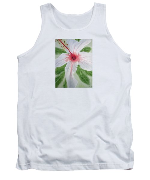 White Hibiscus Flower Tank Top