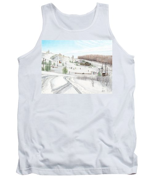 Tank Top featuring the painting White Mountain Resort by Albert Puskaric