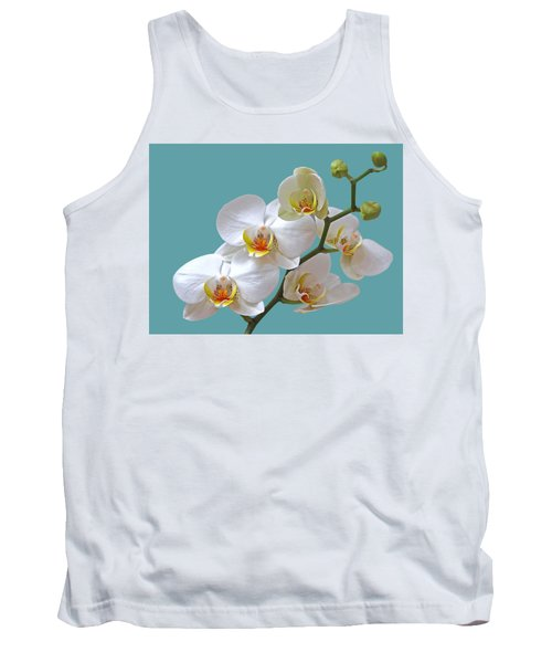White Orchids On Ocean Blue Tank Top