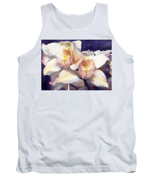 White Orchids Watercolor Tank Top by Greta Corens