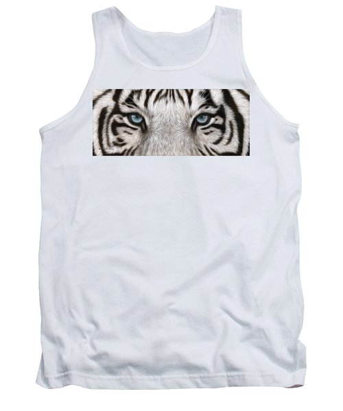 White Tiger Eyes Painting Tank Top by Rachel Stribbling