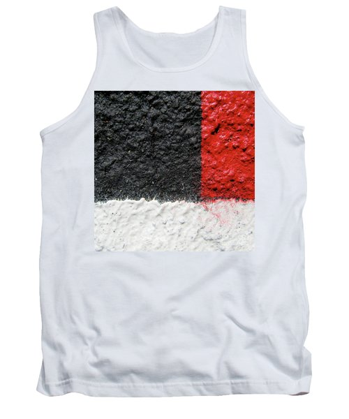 White Versus Black Over Red Tank Top
