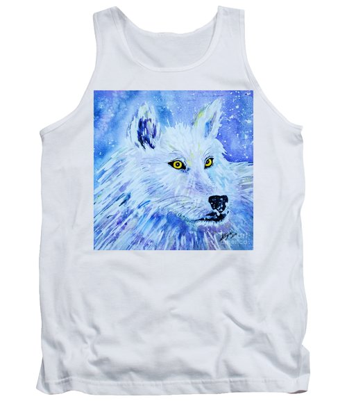 White Wolf - Aurora Nights In Blues - Square Tank Top