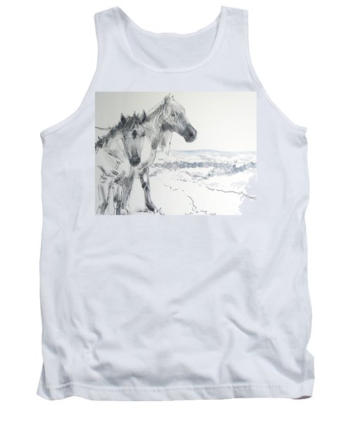 Wild Horses Drawing Tank Top