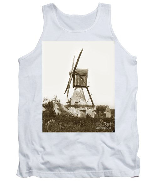 Tank Top featuring the photograph Wind Mill In France 1900 Historical Photo by California Views Mr Pat Hathaway Archives
