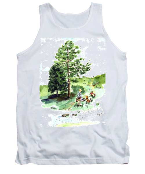 Winnie The Pooh With Christopher Robin After E H Shepard Tank Top