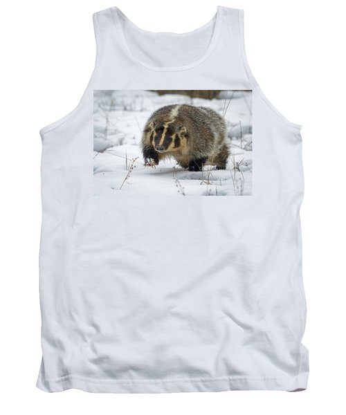 Tank Top featuring the photograph Winter Badger by Jack Bell