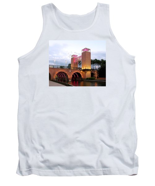 Winter Evening Lights On The Woodlands Waterway Tank Top by Connie Fox