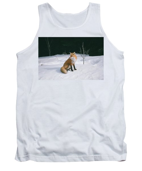 Tank Top featuring the photograph Winter Fox by David Porteus