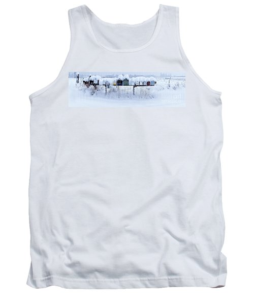 Winter Mailbox Panorama Tank Top by Sean Griffin