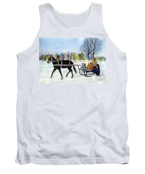 Tank Top featuring the painting Winter Sleigh Ride by Carol Flagg