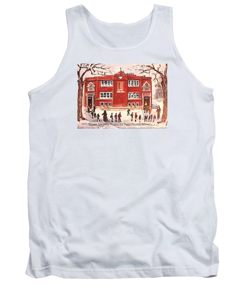 Tank Top featuring the painting Winter Vacation Begins For Saint Pierre's School by Rita Brown