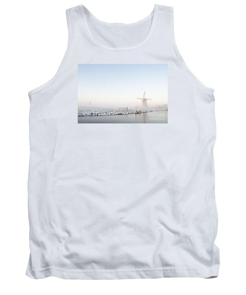 Winter Windmill Landscape In Holland Tank Top