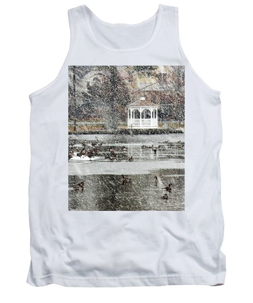 Wintering Geese On Silver Lake Tank Top