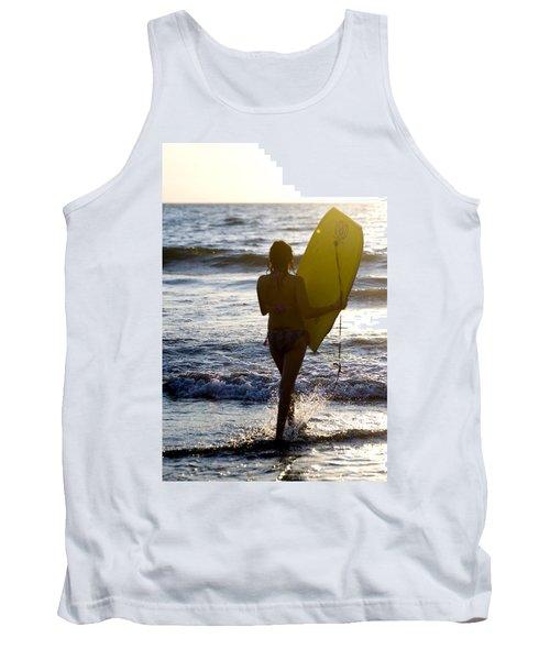 Woman On Beach Carrying Bodyboard Tank Top