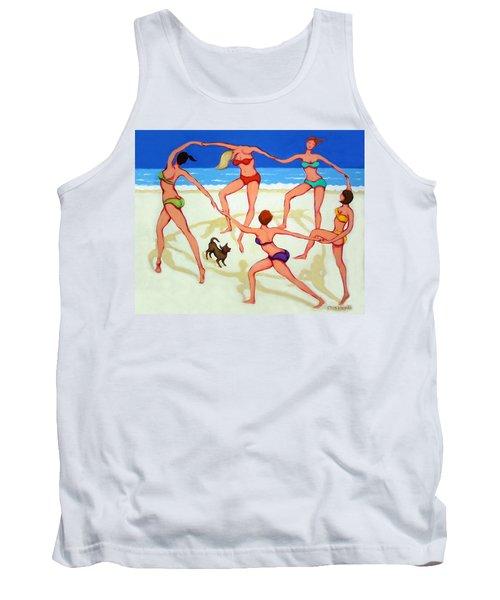 Women Dancing On Beach - Happy Dance Tank Top by Rebecca Korpita