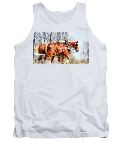 Work Horses In The Field Tank Top