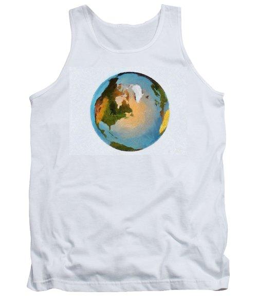 World 3d Globe Tank Top